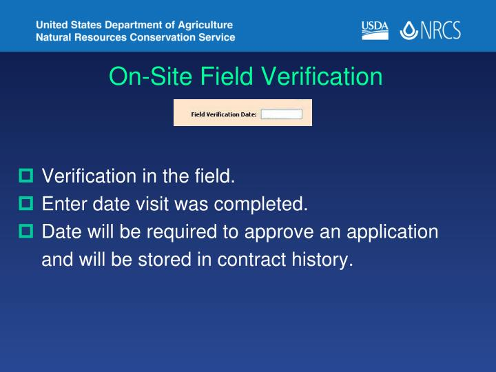 On-Site Field Verification