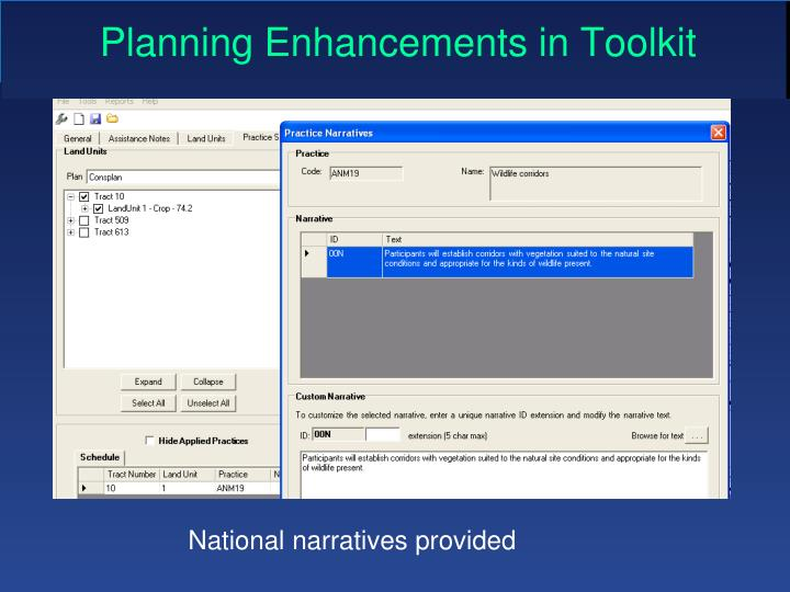 Planning Enhancements in Toolkit