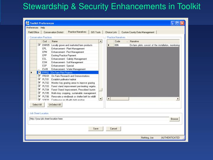 Stewardship & Security Enhancements in Toolkit