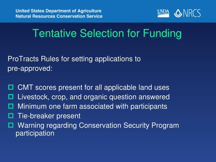 Tentative Selection for Funding