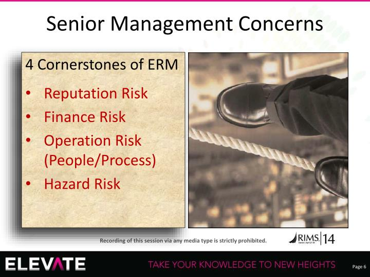 Senior Management Concerns
