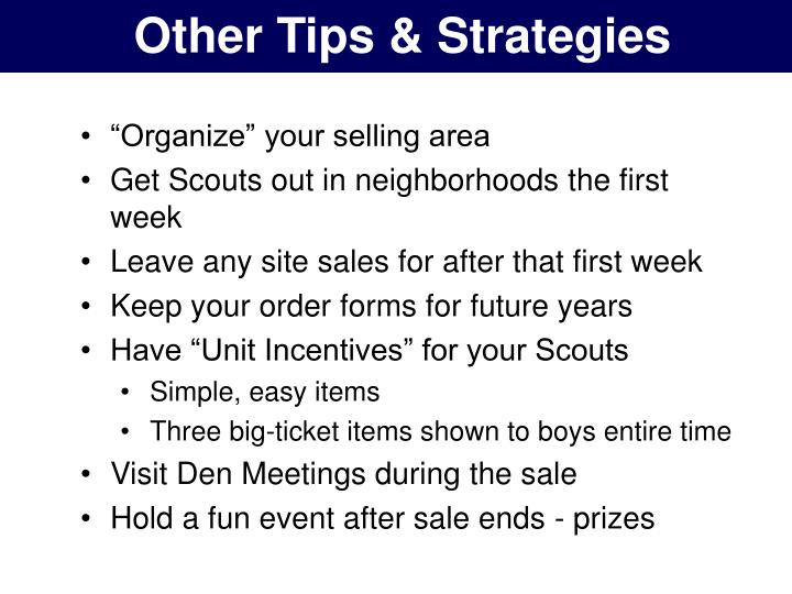 Other Tips & Strategies