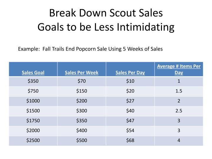 Break Down Scout Sales