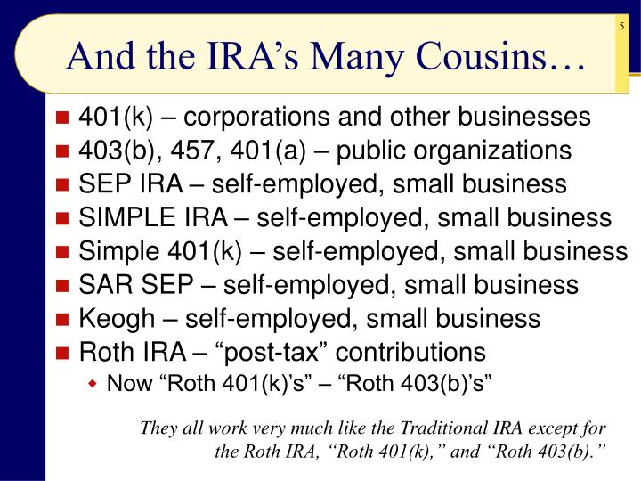 And the IRA's Many Cousins…