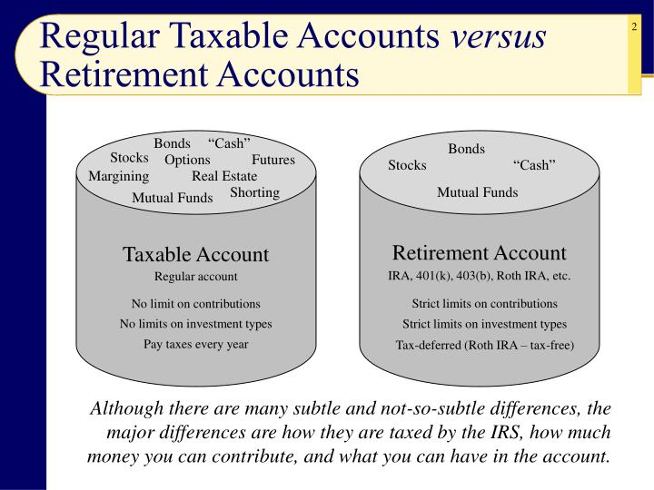 Regular taxable accounts versus retirement accounts