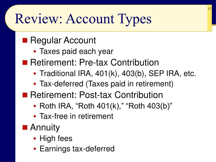 Review: Account Types