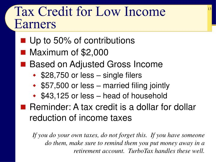 Tax Credit for Low Income Earners