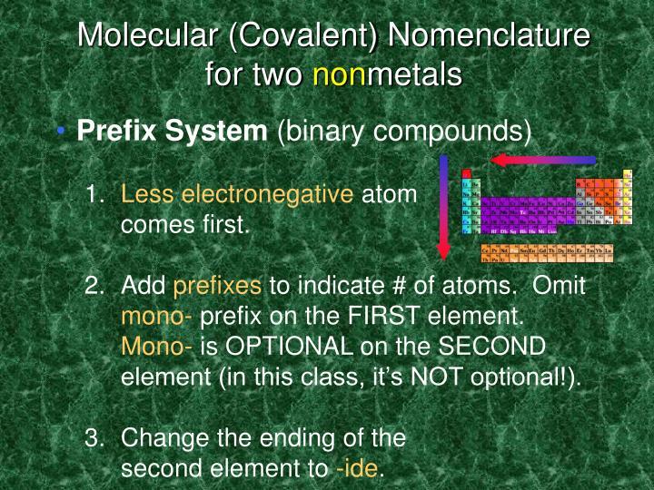 Molecular (Covalent) Nomenclature