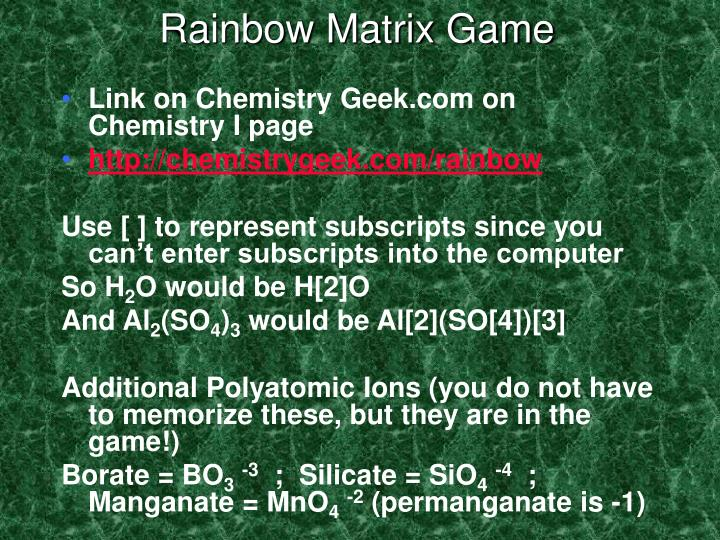 Rainbow Matrix Game