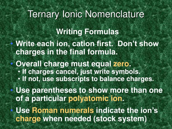 Ternary Ionic Nomenclature