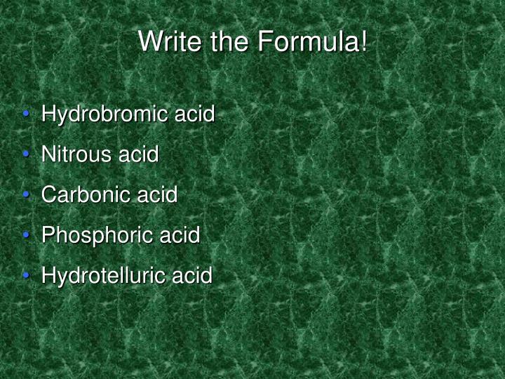 Write the Formula!