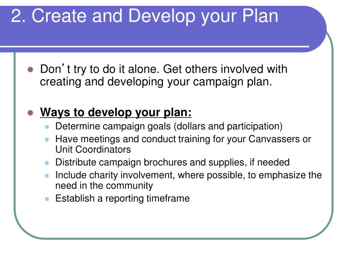 2. Create and Develop your Plan