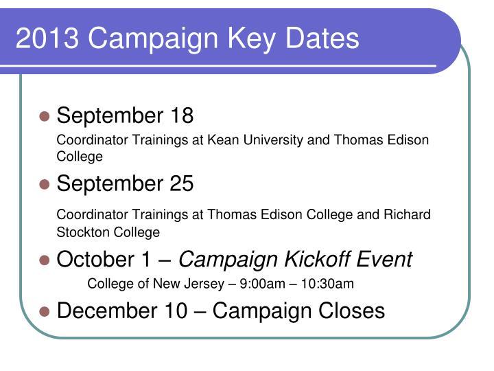 2013 Campaign Key Dates