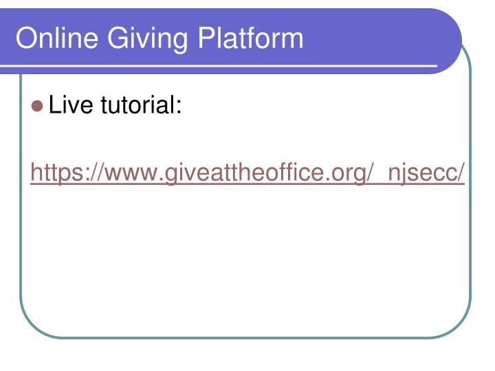 Online Giving Platform