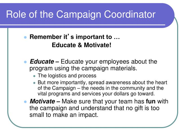 Role of the Campaign Coordinator