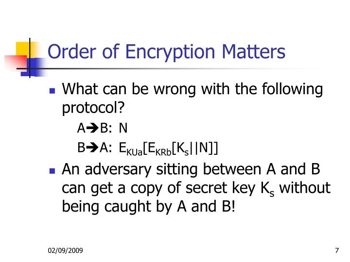 Order of Encryption Matters