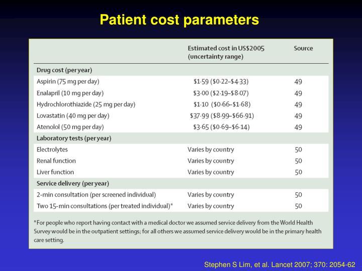 Patient cost parameters