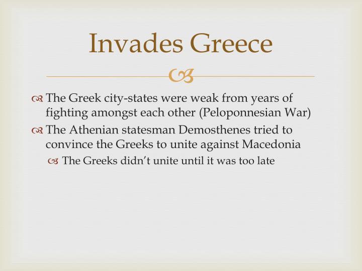 Invades Greece