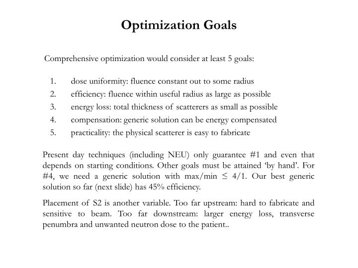 Optimization Goals