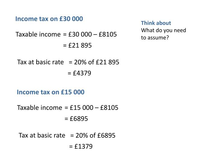 Income tax on £30 000