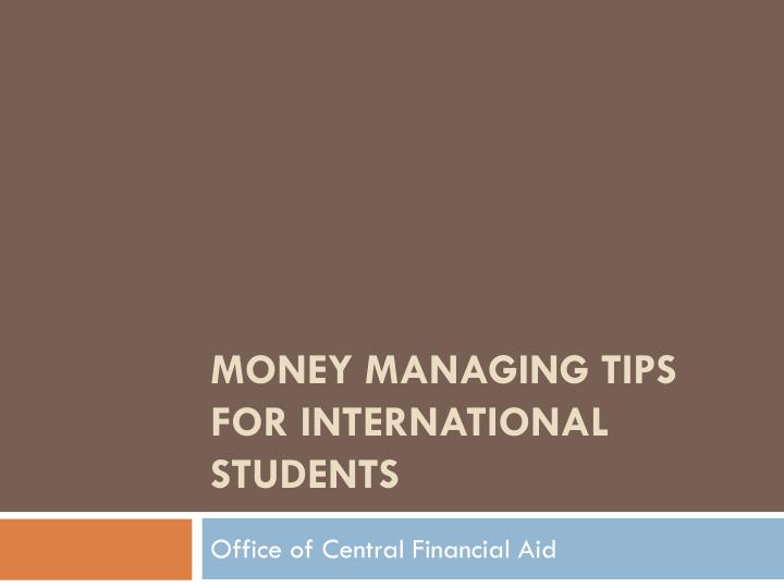 Money managing tips for international students