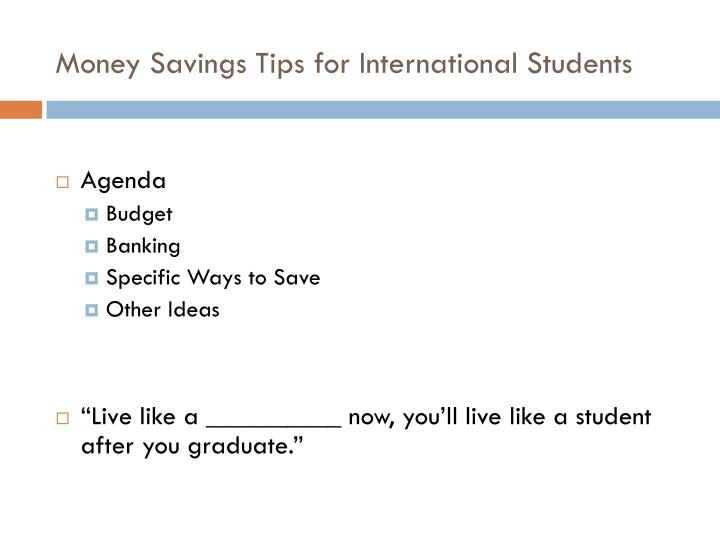 Money savings tips for international students