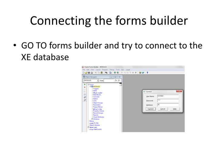Connecting the forms builder