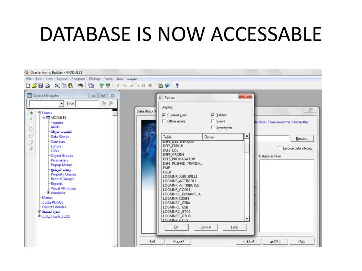 DATABASE IS NOW ACCESSABLE