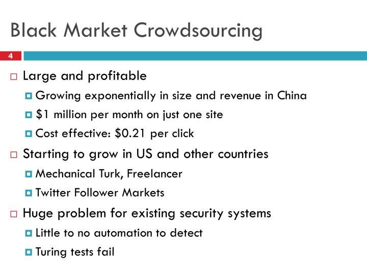 Black Market Crowdsourcing