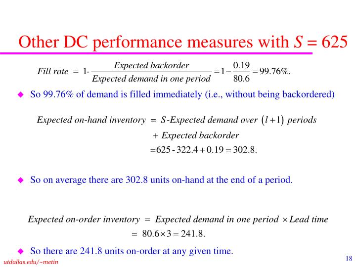 Other DC performance measures with