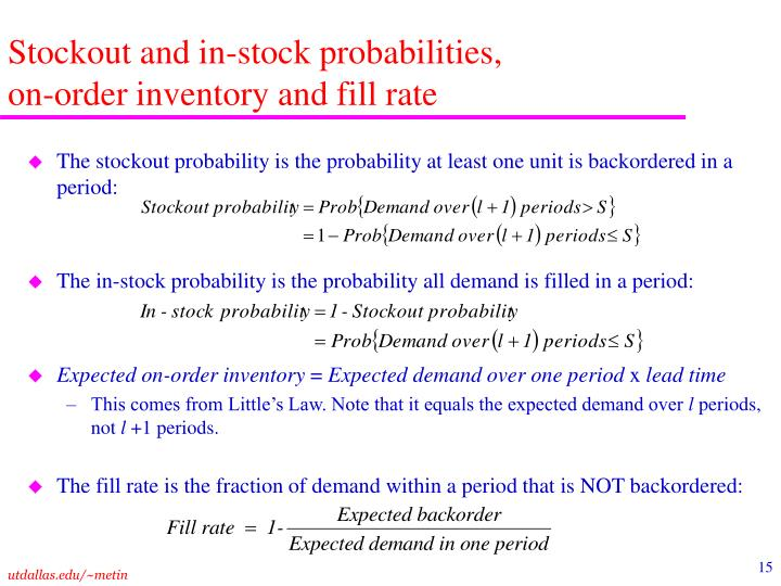 Stockout and in-stock probabilities,