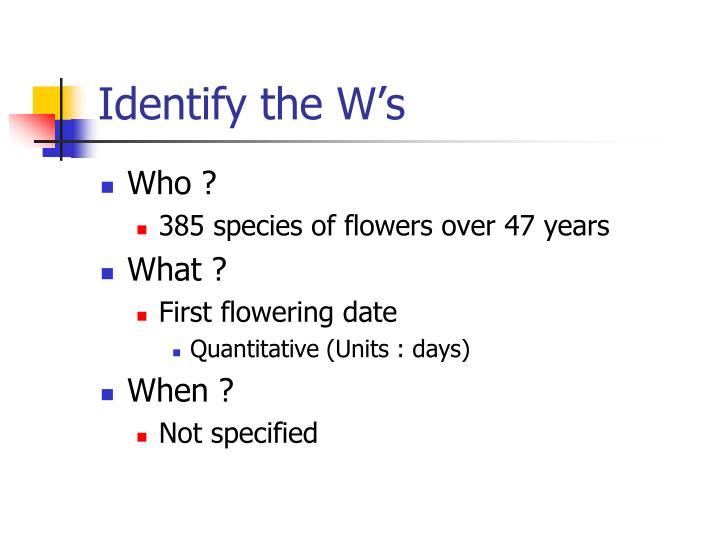 Identify the W's