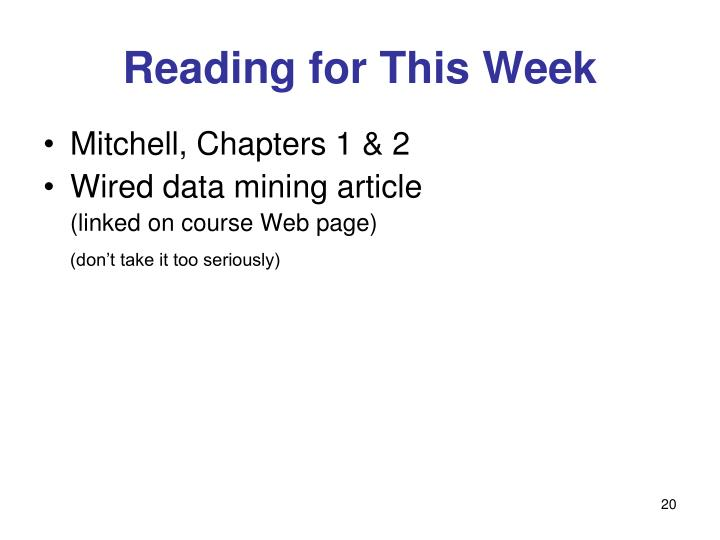 Reading for This Week