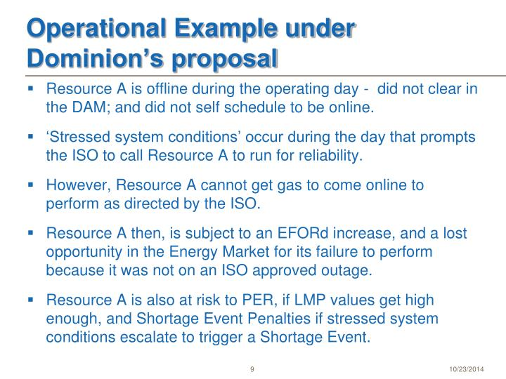 Operational Example under  Dominion's proposal
