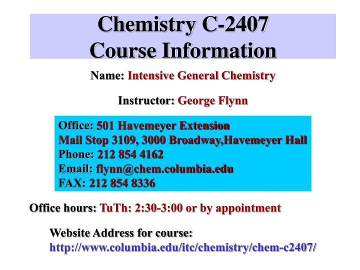 Chemistry c 2407 course information