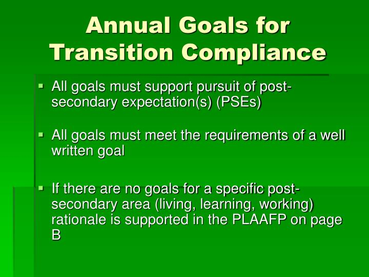 Annual Goals for Transition Compliance