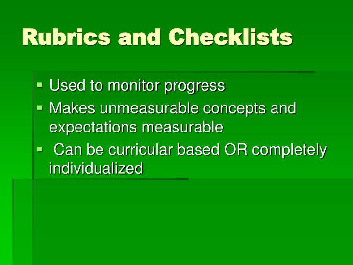 Rubrics and Checklists