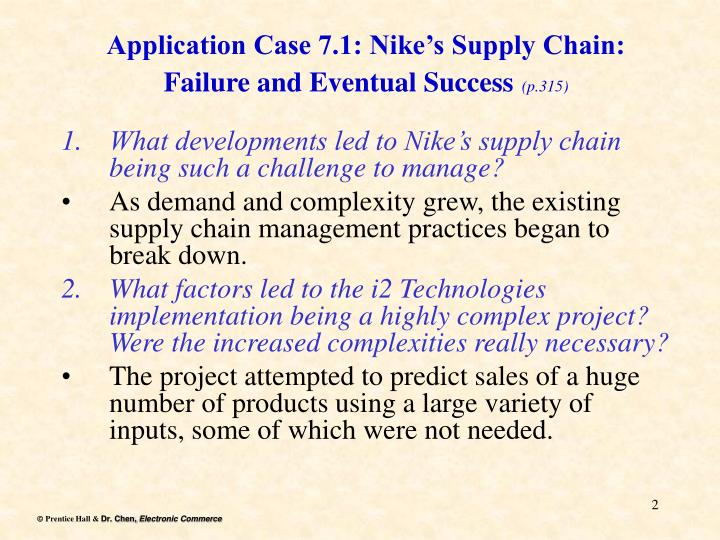 Application case 7 1 nike s supply chain failure and eventual success p 315