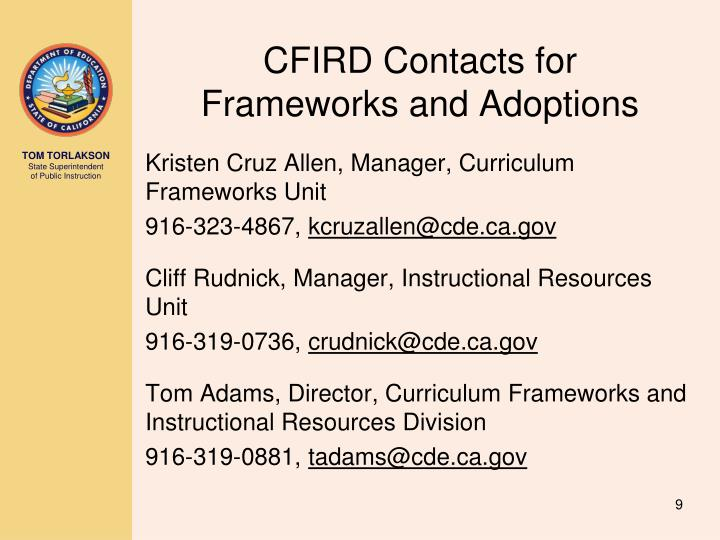 CFIRD Contacts for