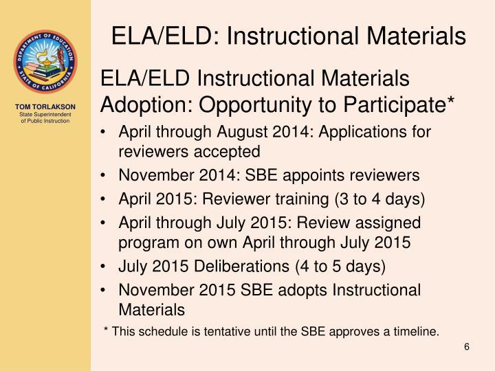 ELA/ELD: Instructional Materials