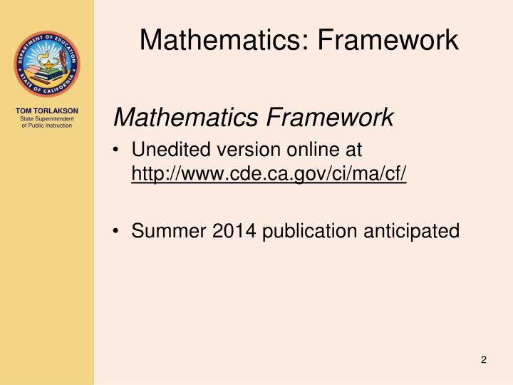 Mathematics: Framework