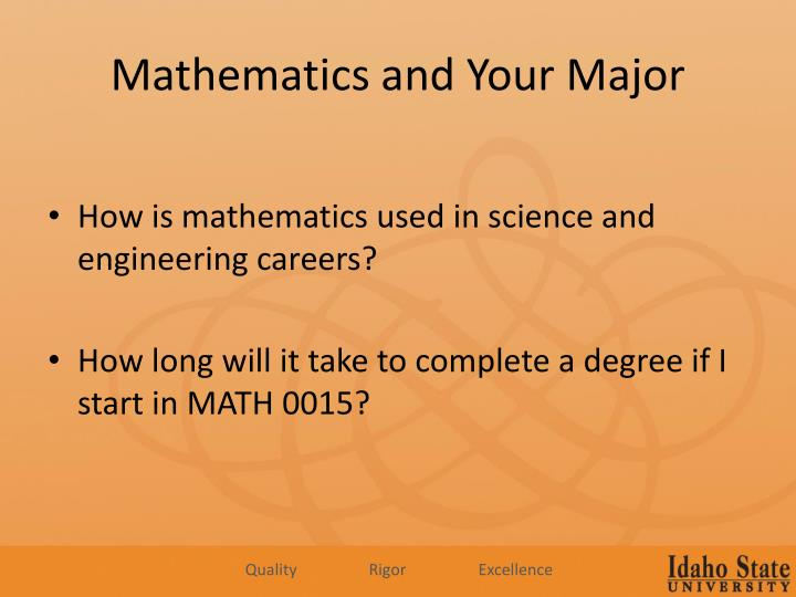 Mathematics and Your Major