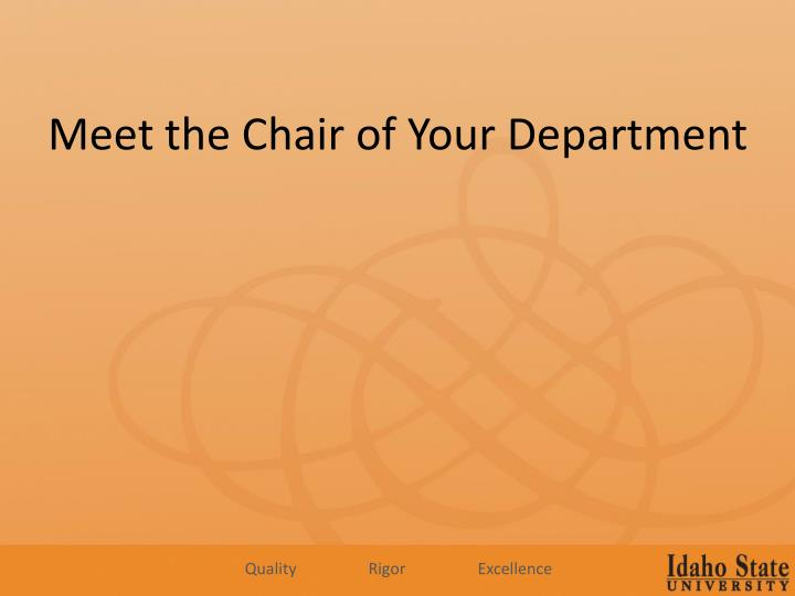Meet the Chair of Your Department