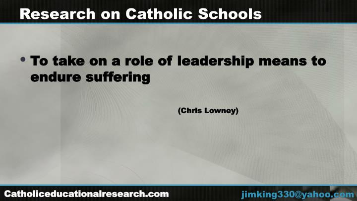 Research on Catholic Schools