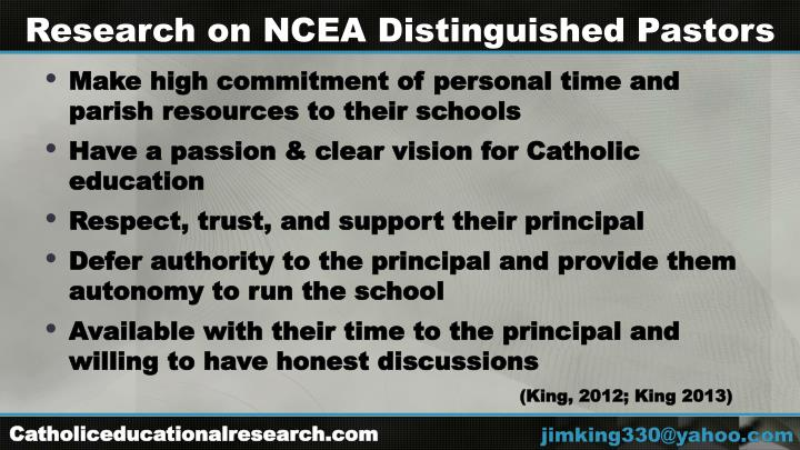 Research on NCEA Distinguished Pastors