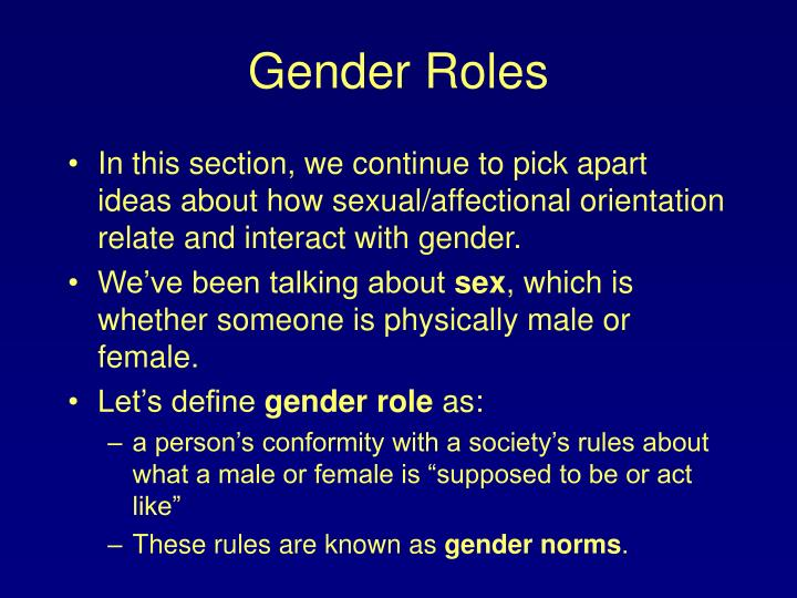 the male and female role essay