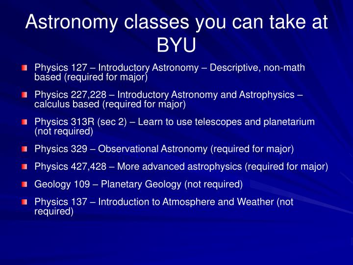 Astronomy classes you can take at BYU