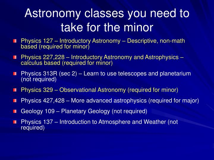 Astronomy classes you need to take for the minor