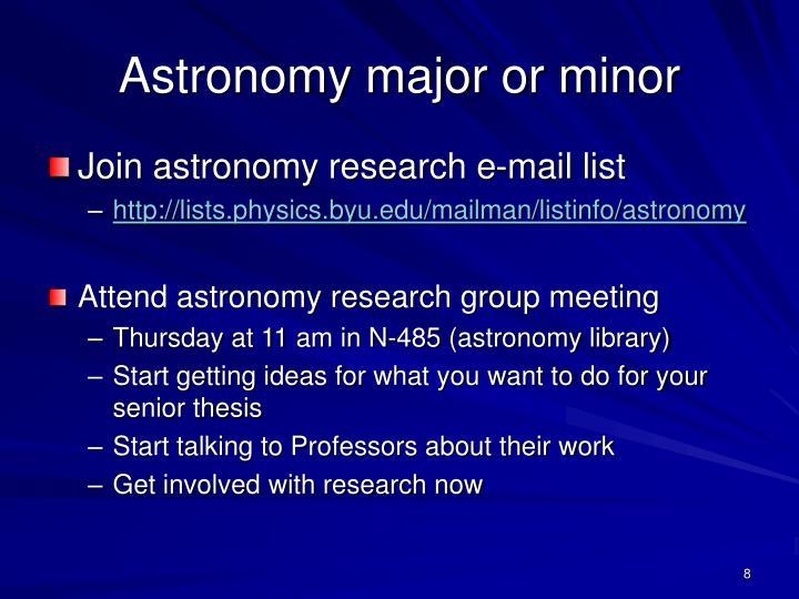 Astronomy major or minor
