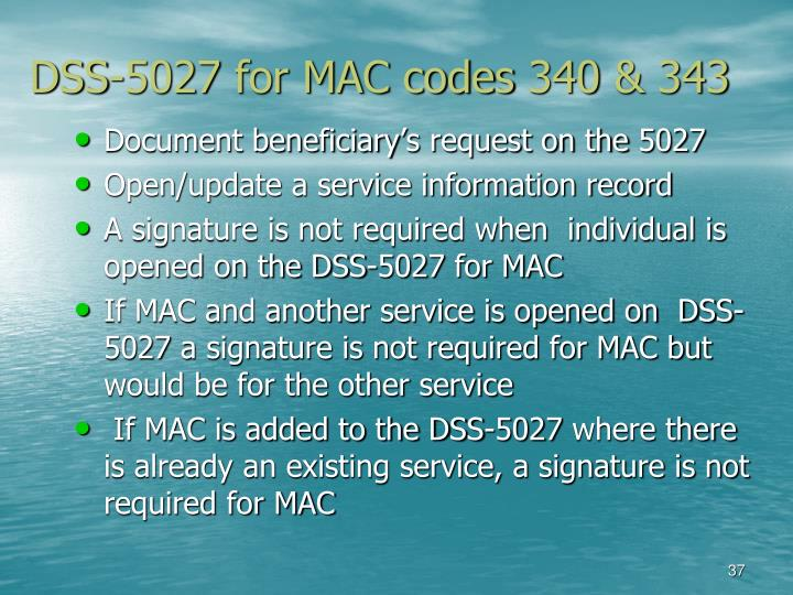 DSS-5027 for MAC codes 340 & 343